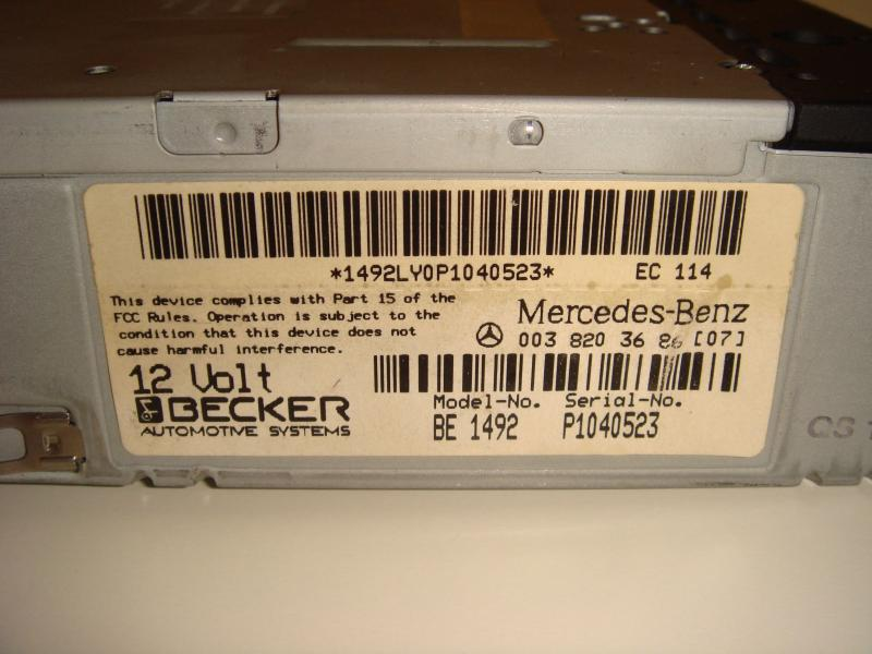 Free becker 1492 to one lucky person peachparts mercedes for Mercedes benz radio code