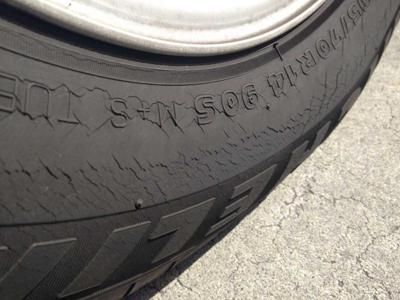 Tire Crack Filler : Tires cracked and flat cd need to be replaced