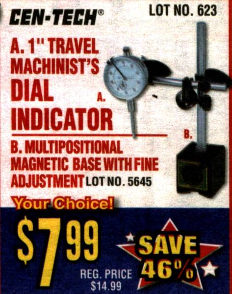 Horbor Freight Dial Indicator At : Dial indicator and magnetic base at harbor freight