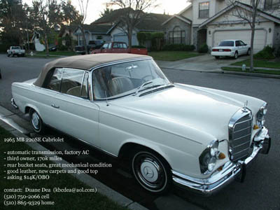 For sale 1965 mercedes benz 220se cabriolet peachparts for 1965 mercedes benz 220se for sale