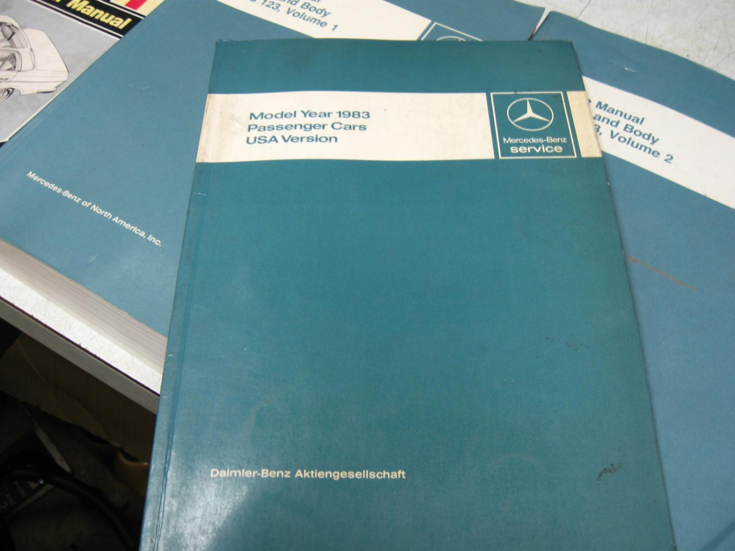 for sale  w123 service manuals  chassis  body  vol 1  2