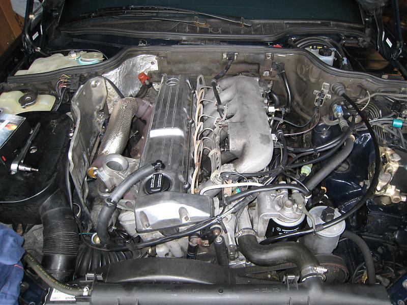 A clean engine bay of a 12-year old car - PeachParts Mercedes ShopForum