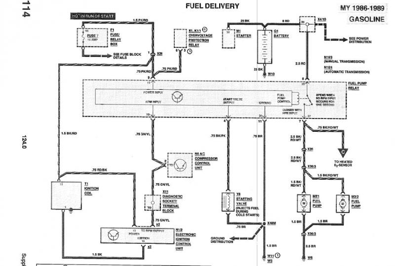 w124 88 300te fuel pump relay failure peachparts mercedes shopforum rh peachparts com Air Conditioner Wiring Diagrams Home AC Wiring Diagram