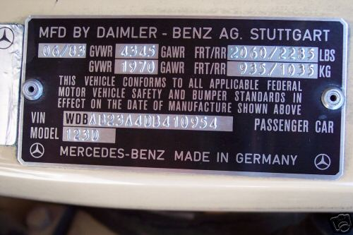 Mercedes sprinter vin number for Mercedes benz support number